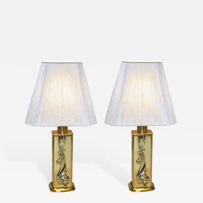 Lipparini Lipparini 1960s Italian Vintage Pair of Gold Brass Lamps with White Silk Shades