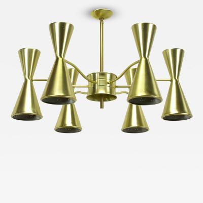 Litecraft Litecraft Chandelier with Six Pierced Hourglass Shades and Twelve Lights