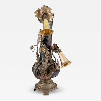 Loetz Amazing Bronze Austrian Art Nouveau Vase Form Lamp with Lily Light Shades