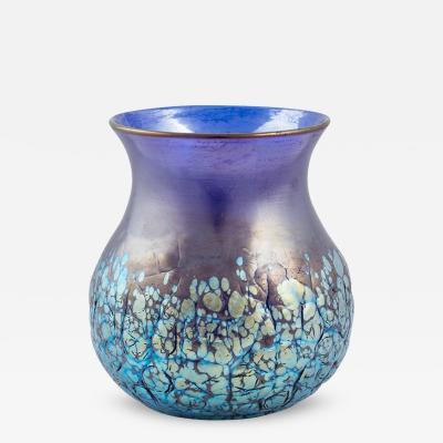 Loetz Cobalt Phenomen Gre 377 Crackled Signed Vase Loetz ca 1900