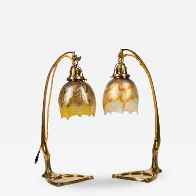 Loetz Loetz Phenomen Gre Pair of Lamps ca 1901