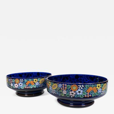 Loetz Pair of Loetz Bohemian Enamel Painted Cobalt Glass Bowls c 1918 1938