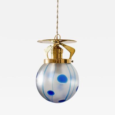 Loetz Viennese Hanging Lamp ca 1902 Loetz Shade Streifen und Flecken