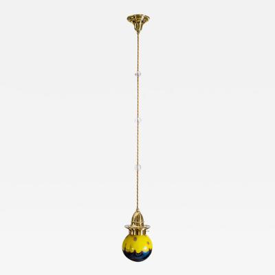 Loetz Viennese Hanging Lamp ca 1902 with Loetz Lamp Phenomen Gre 2 314 Shade