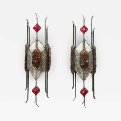 Longobard PAIR OF HAMMERED GLASS ON WROUGHT WALL LIGHTS BY LONGOBARD