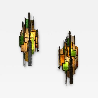 Longobard Pair of Hammered Glass Sconces by Longobard Italy 1970s