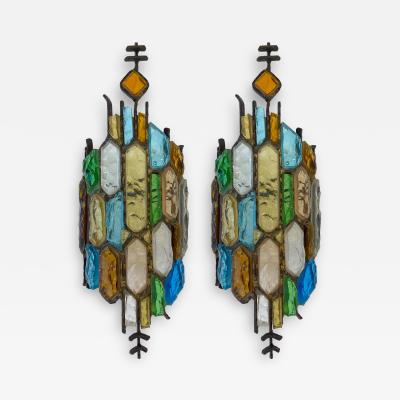 Longobard Pair of Hammered Glass and Gilt Iron Sconces by Longobard Italy 1970s