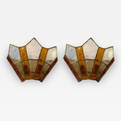 Longobard Pair of Sconces Hammered Glass Gold Wrought Iron by Longobard Italy 1970s