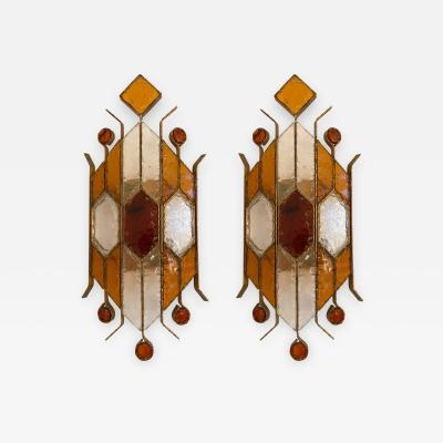 Longobard Pair of Sconces Hammered Glass by Longobard Italy 1970s