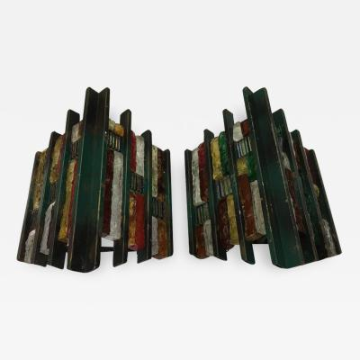 Longobard Set of Two Brutalist Italian iron and Multicolored glass Wall Sconces circa 1970