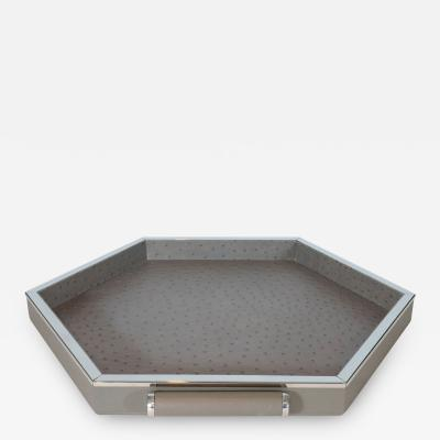 Lorin Marsh Bespoke Leather Embossed Hexagonal Tray small