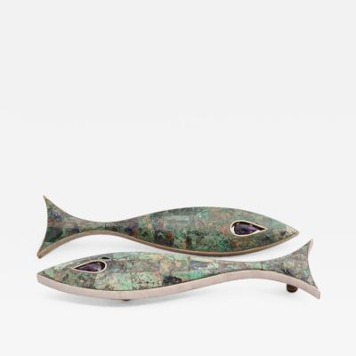 Los Castillo Large Modernist Fish Drawer Handle by Los Castillo Amethyst and Azurite