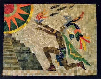 Los Castillo Los Castillo Studio Mosaic Mayan Priest Chichen Itza Mexico 1950s