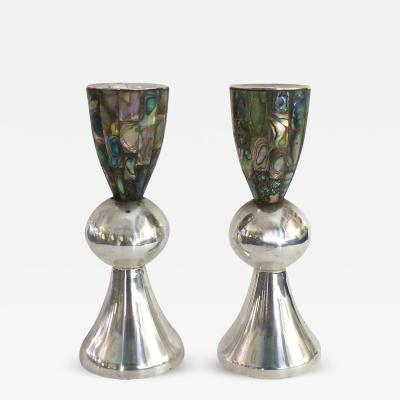Los Castillo Los Castillo Taxco Mexico Silver Plate and Abalone Candleholders Pair