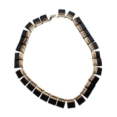 Los Castillo Mexican Modernist Choker Silver Onyx TAXCO After Los Castillo