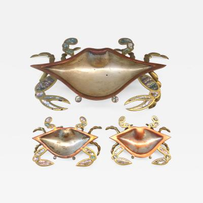 Los Castillo Monumental Los Castillos Abalone and Mixed Metal Crab Bowl with Two Side Dishes