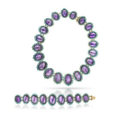 Lucien Piccard 18K YELLOW GOLD CABOCHON OVAL AMETHYST TURQUOISE NECKLACE AND BRACELET SET