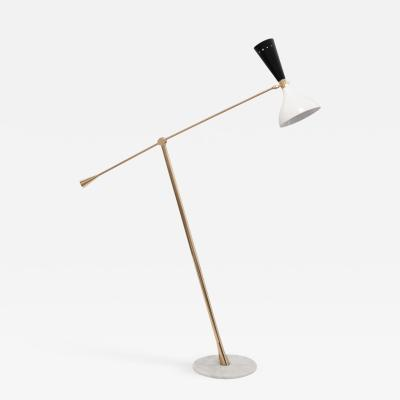 Lumi Mid Century Modern Brass and Marble Floorlamp by Lumi Italy c 1960s