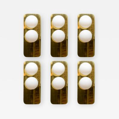 Lumi Set of Six Wall Sconces in Brass and Glass by Italian Manufacturer Lumi