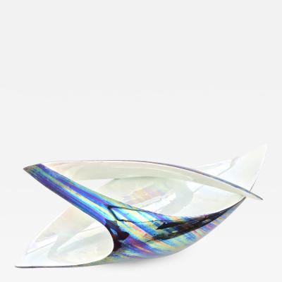 Lusso Iridescent Ceramic Bowl or Centerpiece by Lusso Italy 1950s