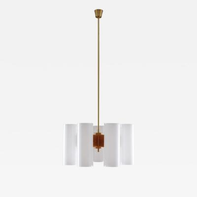 Luxus Large Swedish Midcentury Chandeliers in Acrylic Pine and Brass by Luxus 1960s