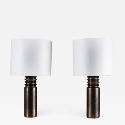 Luxus Pair of Swedish Ceramic Table Lamps by Luxus