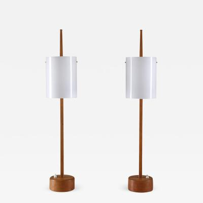 Luxus Swedish Midcentury Table Lamps in Acrylic and Oak by Luxus 1960s