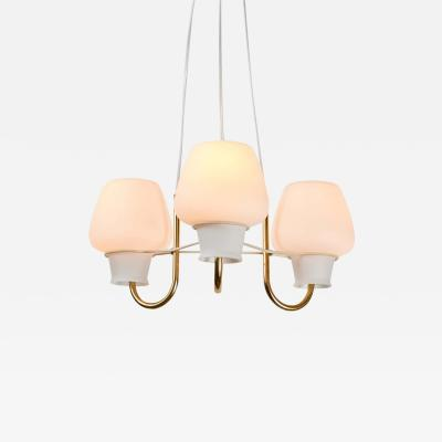 Lyfa 1950s Glass and Brass Suspension Lamp by Bent Karlby for Lyfa