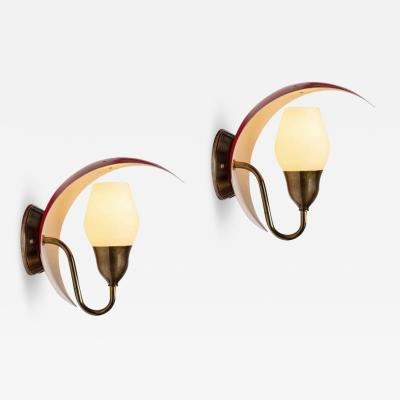 Lyfa Pair of Bent Karlby Perforated Metal and Glass Wall Lamps for Lyfa