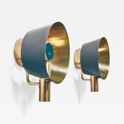 Lyfa Pair of brass Lyfa wall lamps Denmark 1960s