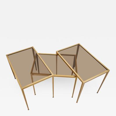 M nchner Werkst tten Set of Three Brass and Glass Nesting Tables by M nchner Werkst tten