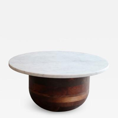 MAWLANA Furniture Home Bertrand Walnut And Marble Round Side Table