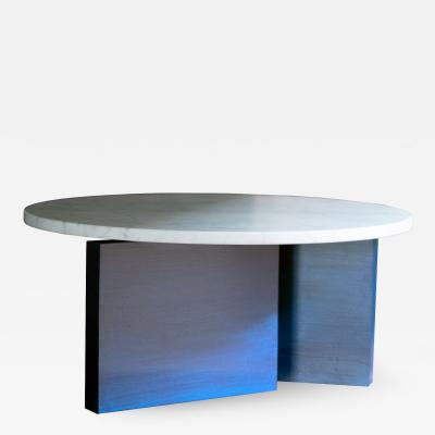 MAWLANA Furniture Home Dietrich Bauhaus Inspired Round Marble Side Table With Lacquered Base