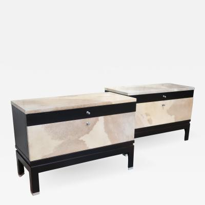 MIM A pair of rosewood and goat leather commodes signed by MIM Italy 60