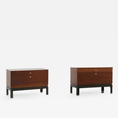 MIM Mobili Italiani Moderni Pair of MiM bedside tables in wood brown and steel from 1960s