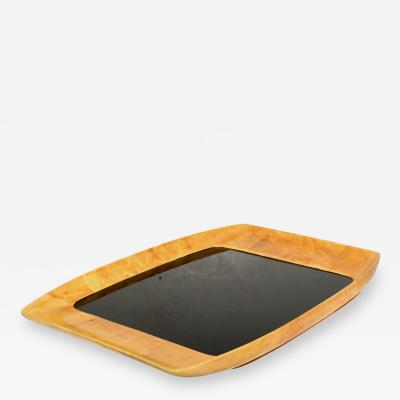 Macabo Aldo Tura Sculpted Service Tray in Goatskin with Black Glass 1960s Barware