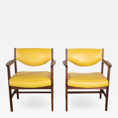 Madison Furniture Pair armchairs MCM gold faux leather walnut by madison furniture ind
