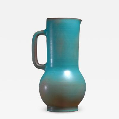 Madoura Suzanne Ramie Greenish Blue Madoura Ceramic Pitcher Vallauris France 1950s