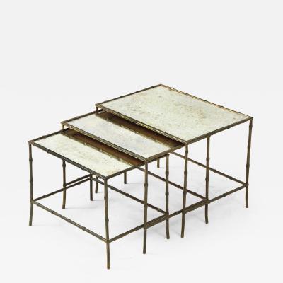 Maison Bagu s Faux bamboo patinated bronze nesting tables by Maison Bagu s France 1960s