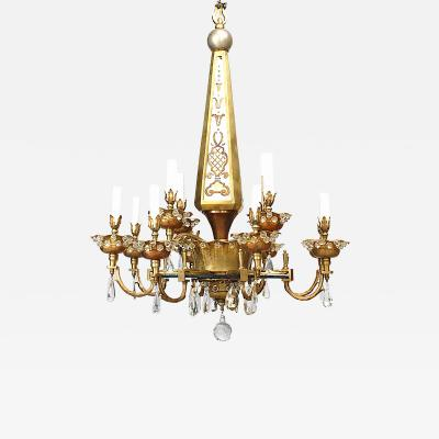 Maison Bagu s French 1940s Cut Glass Eglomise and Gilt Metal Chandelier