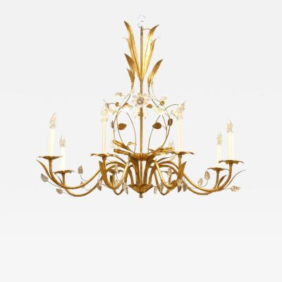 Maison Bagu s French 1940s Gilt Metal Chandelier
