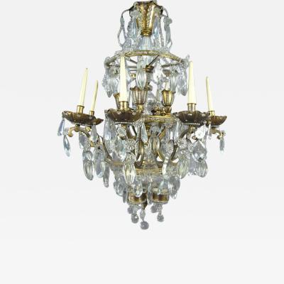 Maison Bagu s French Crystal and Gilt Bronze Chandelier by Maison Bagu s for Jansen