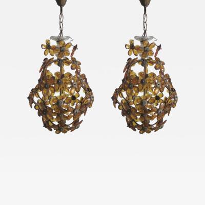 Maison Bagu s French Mid Century Cut Amber Crystal Floral Pendant Chandelier Maison Bague s