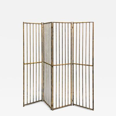 Maison Bagu s French Mid Century Modern Neoclassical Faux Bamboo Gilt Iron Screen by Bagues