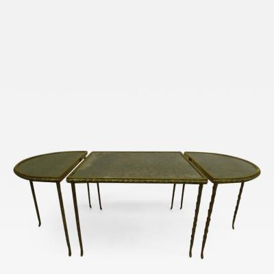 Maison Bagu s French Midcentury 3 Part Gilt Bronze Faux Bamboo Coffee Table by Maison Bagu s