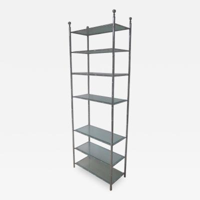 Maison Bagu s French Modern Neoclassical Nickel Faux Bamboo Glass Storage Shelves by Bagu s