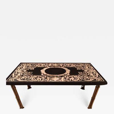 Maison Bagu s GILT BRONZE BAMBOO LEG COFFEE TABLE WITH ORNATE TOP