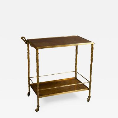 Maison Bagu s Gilt bronze Palm bar cart by Maison Bagues