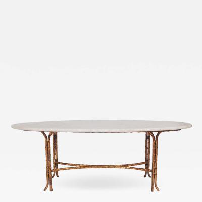 Maison Bagu s Hollywood Regency Maison Bagu s Gold Gilded Bamboo Marble Oval Cocktail Table