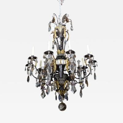 Maison Bagu s Large French Iron Gilt Iron Crystal and Rock Crystal Chandelier Maison Bagu s